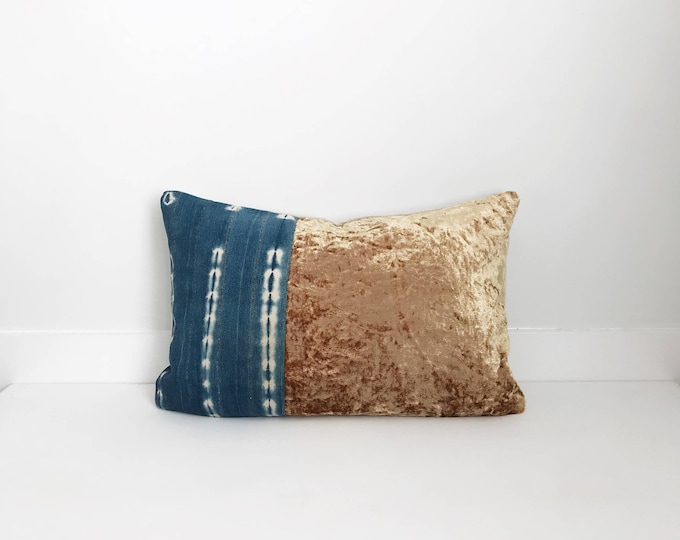 Boho Pillow, Indigo and Velvet Pillow Cover, Gold Pillow, Indigo, Mudcloth, One Of A Kind Pillow, Decorative, Bohemian