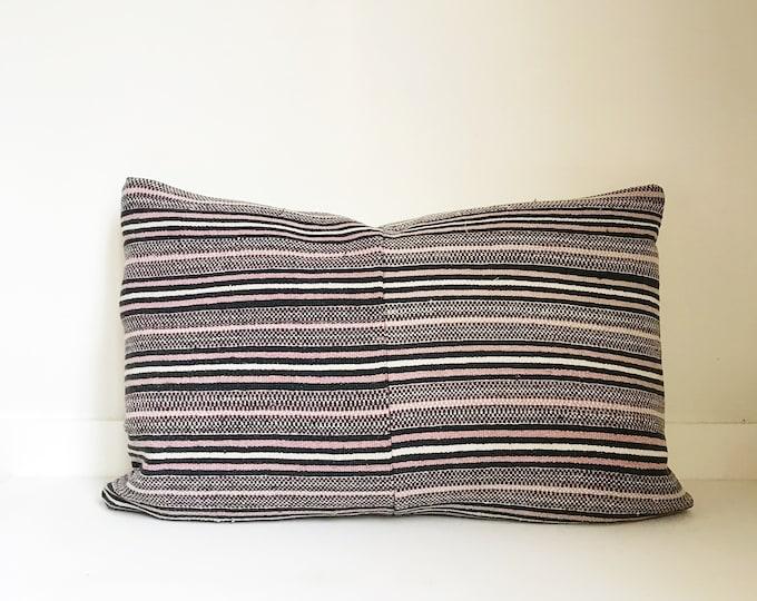 Boho Pillow, Striped Pillow, Vintage, Asian, Lumbar Pillow, Decorative Pillow, Pillow Covers, One Of A Kind, Bohemian, Boho Chic