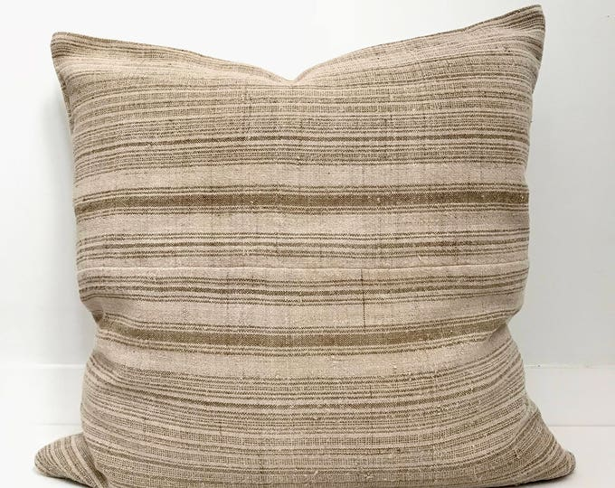 Hmong Textile Pillow Cover Vintage, Ethnic, Handwoven, Hemp, Striped, Boho Pillow