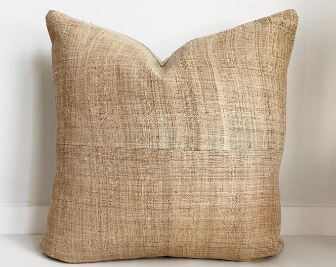 Hmong, Hemp Pillow Cover, Natural Colored, Neutral, SKU 124