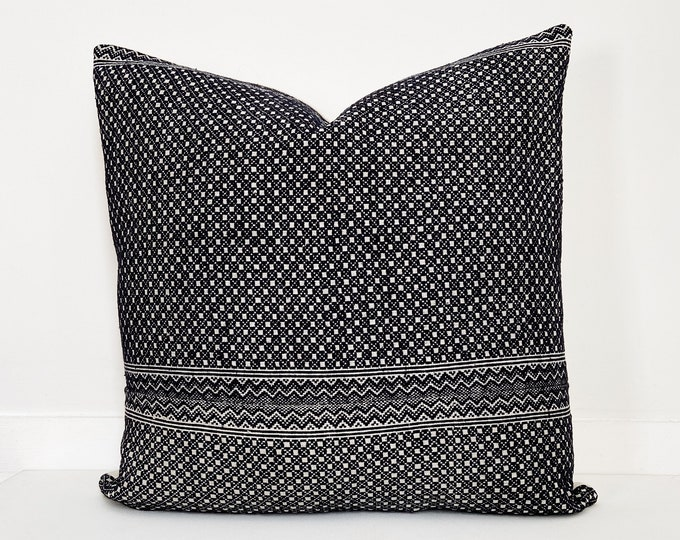 Chinese Wedding Blanket Pillow Cover, Embroidered, Black and White
