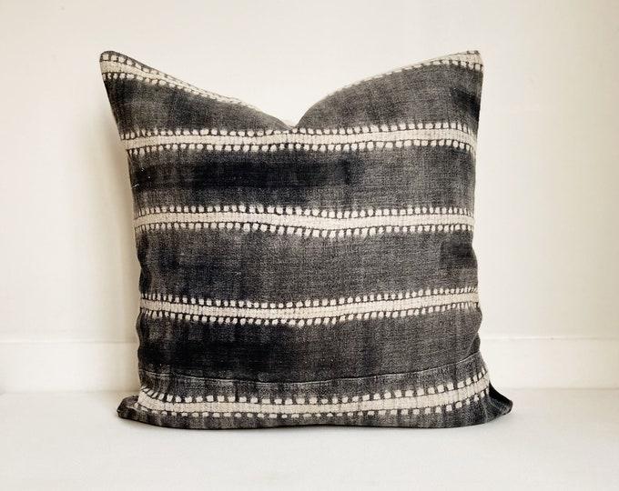 Gray and White Batik Pillow Cover, Modern Farmhouse, Tie Dye