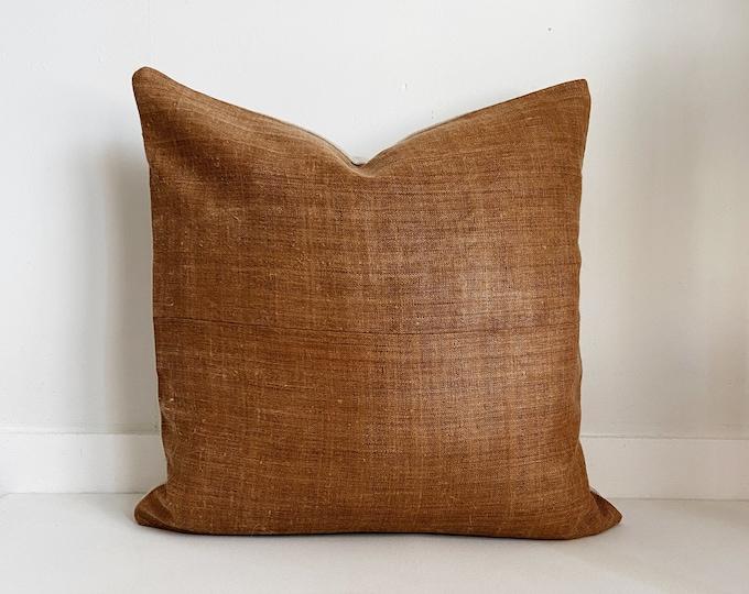 Hmong Pillow Cover, Camel Color, Vintage, Ethnic, Handwoven, Hemp, Brown, Boho Pillow, SKU 1206