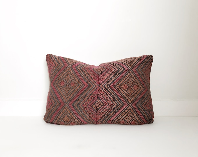 Chinese Embroidered Pillow Cover, Vintage, Textile, Ethnic, Handwoven, Silk