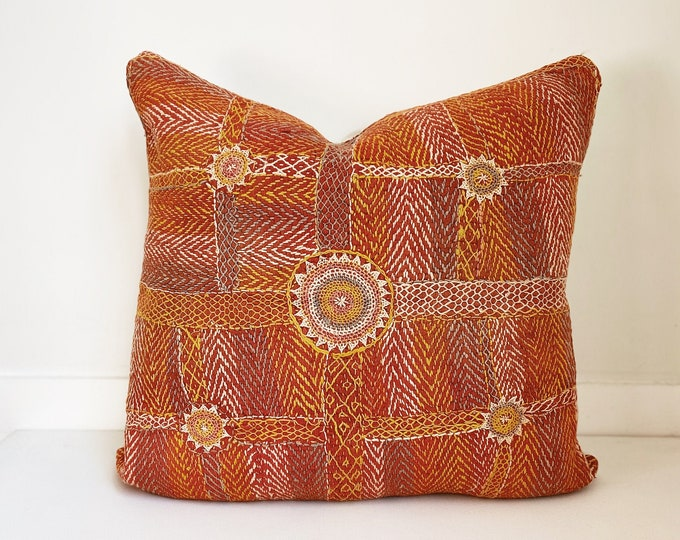 Handwoven Indian Pillow Cover, Vintage, Rust, Kantha