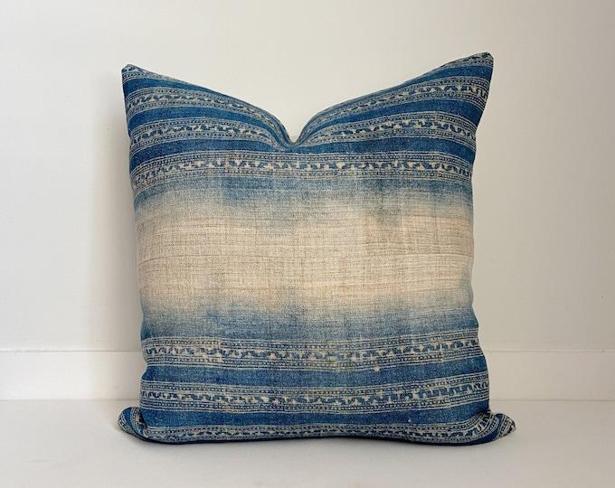 Batik Hmong Pillow Cover, Blue and Natural Hemp