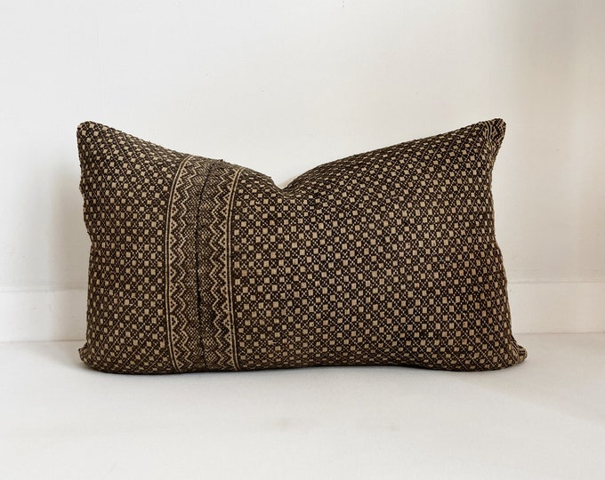 Chinese Wedding Blanket Pillow Cover, Embroidered, Lumbar, Brown and Tan
