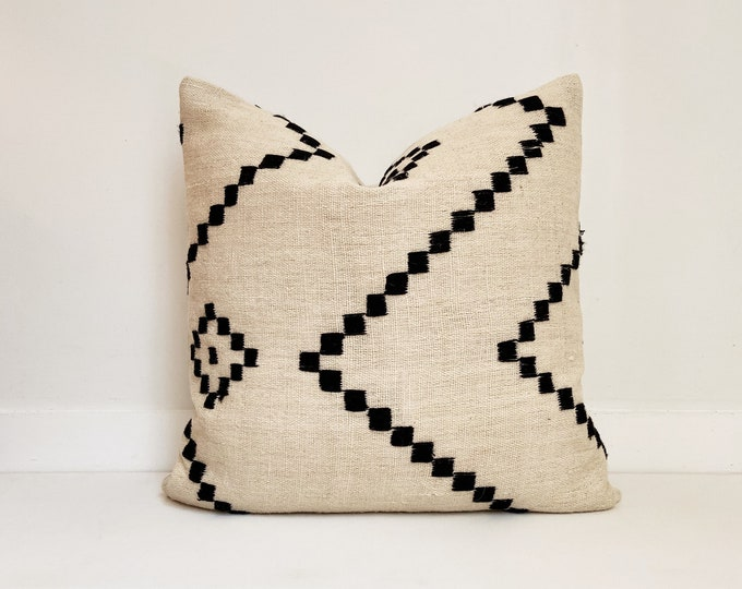 Wool Indian Pillow Cover, Cream and Black, Modern Farmhouse