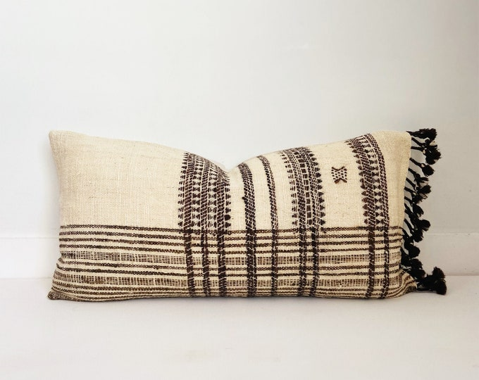 Wool Indian Pillow Cover with Fringe, Cream and Brown, Modern Farmhouse
