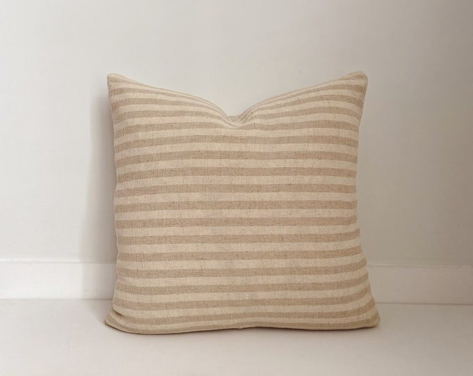 Striped Neutral Pillow, Boho Pillow, Modern Farmhouse