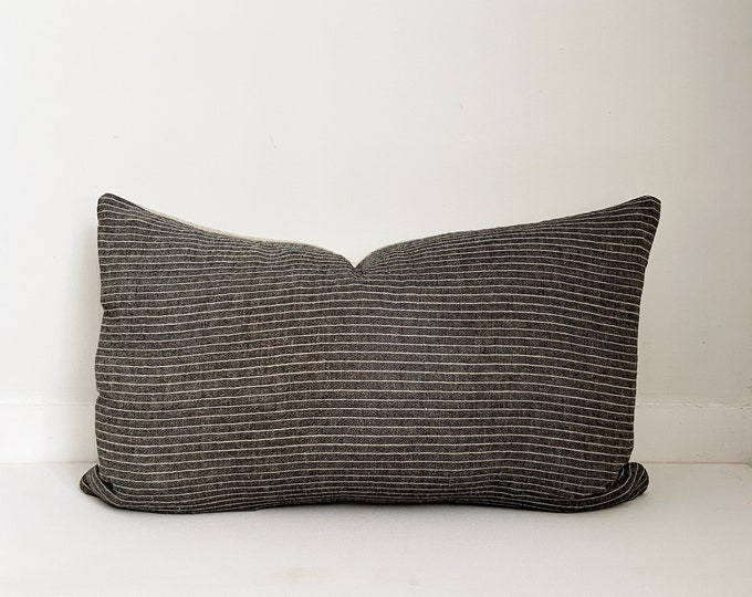 Pinstripe Pillow, Black and Beige, Boho Pillow, Modern Farmhouse