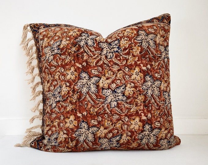 Navy and Rust Block Print Pillow Cover, Fringe, Floral, Boho Pillow