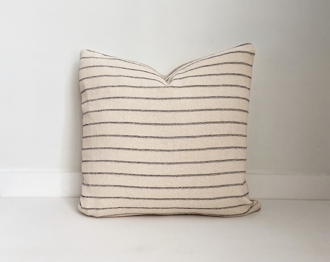 Striped Neutral Pillow, Black and Cream, Boho Pillow, Modern Farmhouse