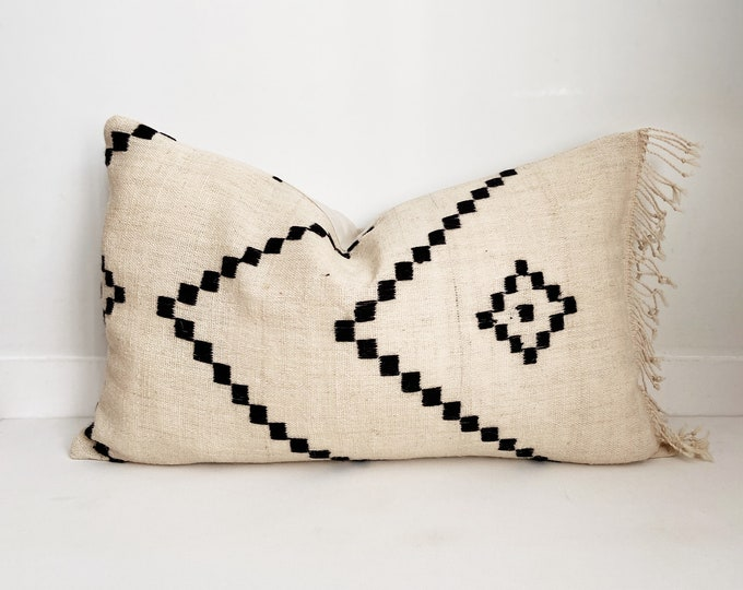 Wool Indian Pillow Cover with fringe, Cream and Black