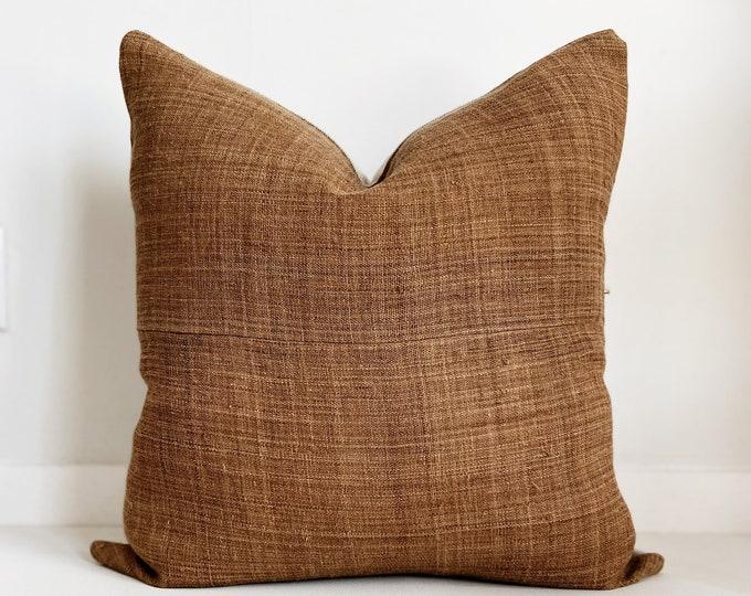 Hmong Pillow Cover, Medium Brown Color, Vintage, Ethnic, Handwoven, Hemp, Brown, Boho Pillow, SKU 1128