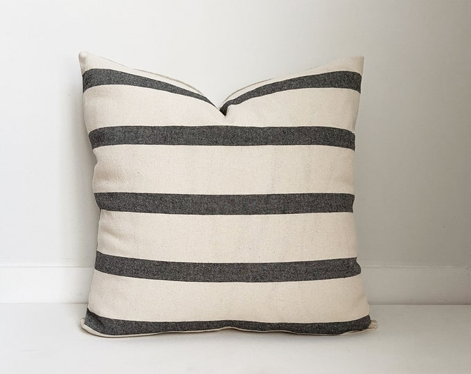 Black and White Striped Pillow, Boho Pillow, Modern Farmhouse