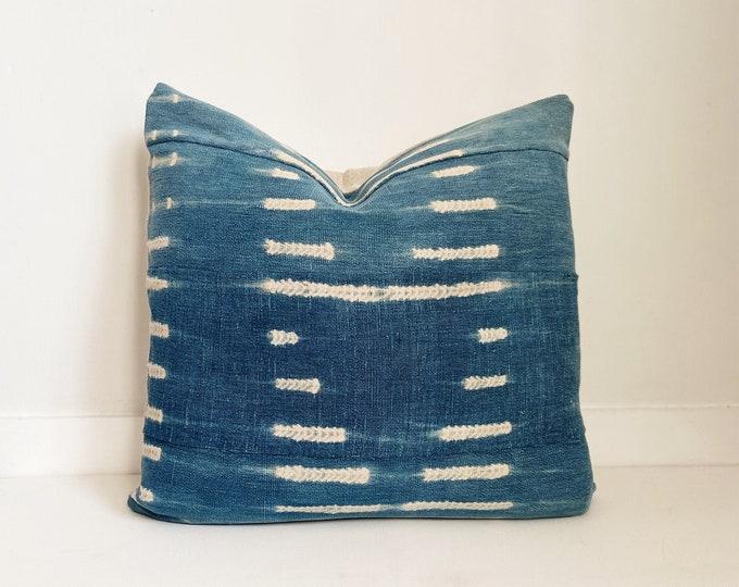 African Indigo Pillow Cover, Ethnic, Vintage, Boho Pillow, Modern Farmhouse Pillow