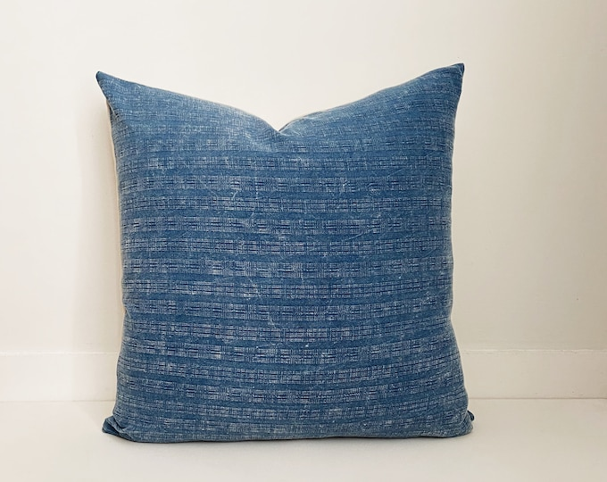 Distressed Blue Pillow, Asian, Boho Pillow, Modern Farmhouse