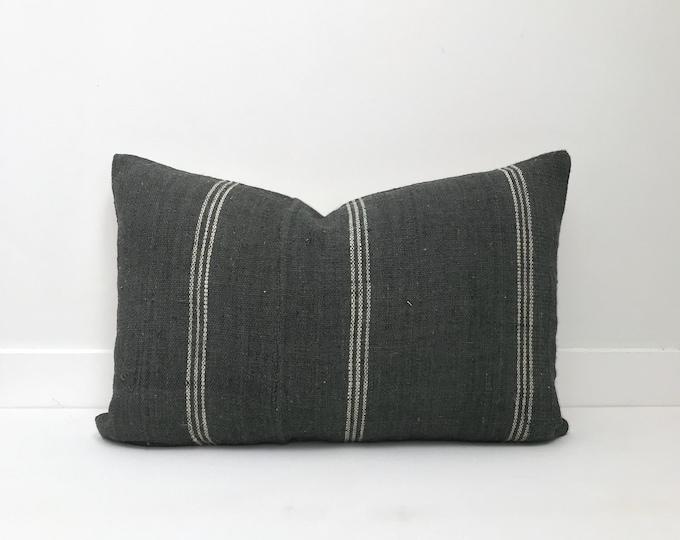 Boho Pillow, Wool Pillow, Gray, India, Decorative Pillow, Pillow Covers, Striped Pillow, Boho Chic, Home Decor