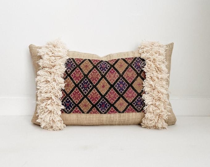 Fringe Pillow Cover, Chinese Wedding Blanket, Boho Pillow, Lumbar