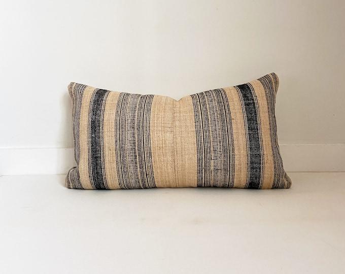 Vintage Hmong Striped Pillow Cover, Modern Farmhouse, Lumbar, Boho