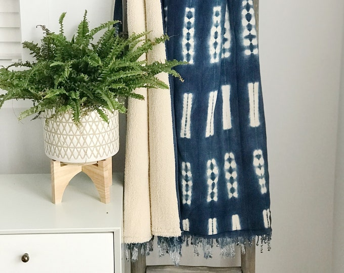 Throw Blanket, Ethnic, African, Handwoven, Mud Cloth, Sherpa, Vintage, Indigo, Boho Blanket