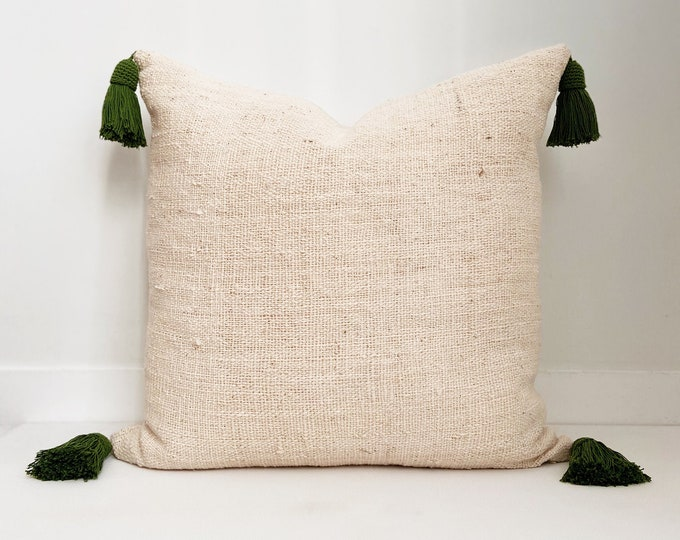 Tassel Pillow Cover, Indian Wool, Ivory, Boho Pillow