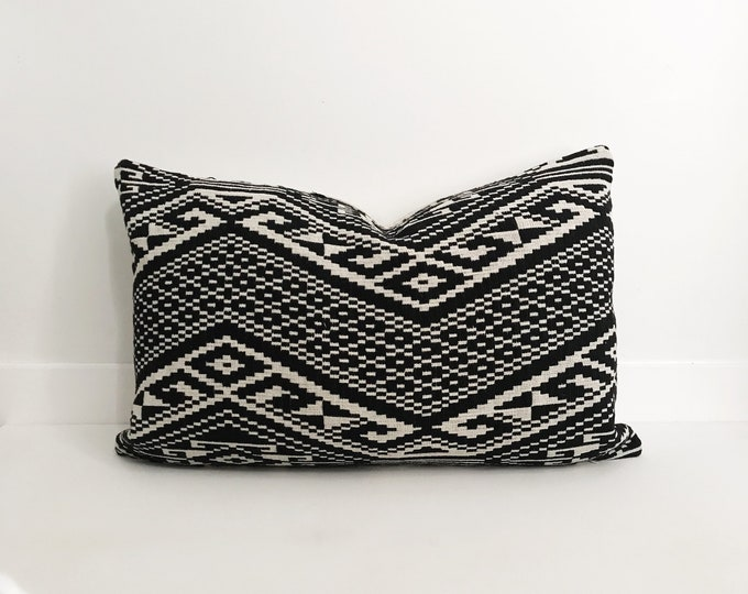 Pillow Cover, Textile, Ethnic, Asian, Handwoven, Black, Cream, Boho Pillow