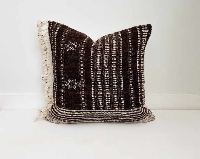Wool Indian Pillow Cover with Fringe, Brown and Cream