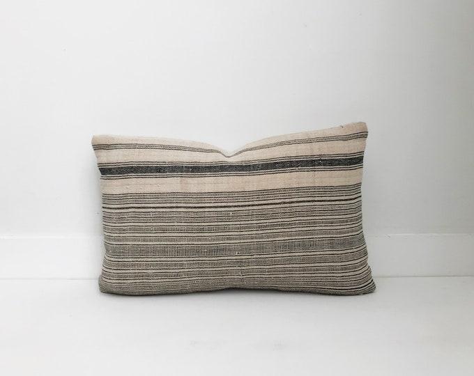 Hmong Textile Pillow Cover Vintage, Ethnic, Handwoven, Hemp, Striped, Boho Pillow