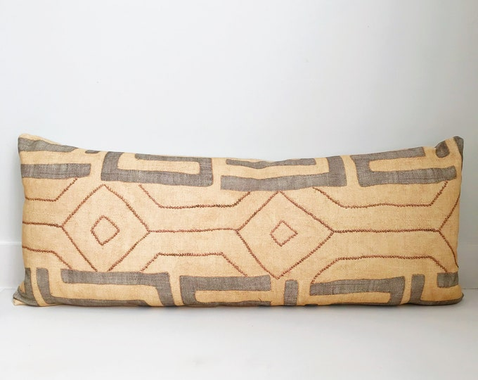 Boho Pillow, Kuba Cloth, Pillow Covers, Kuba Cloth Pillow, Cotton Kuba Cloth, Tan, Gray, African Inspired, Africa, Boho, Bohemian