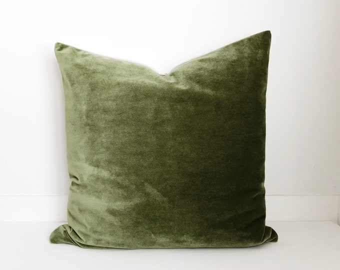 Boho Pillow, Velvet Pillow Cover, Olive Green Pillow, Pillow Covers , Throw Pillow, Decorative Pillows, Bohemian