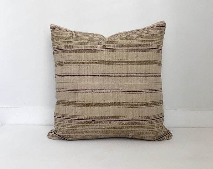 Boho, Pillow, Hmong, Vintage, Pillow Covers, Throw Pillow, Decorative Pillows, Bohemian, Striped, Neutral Pillow, Hemp, Home Decor