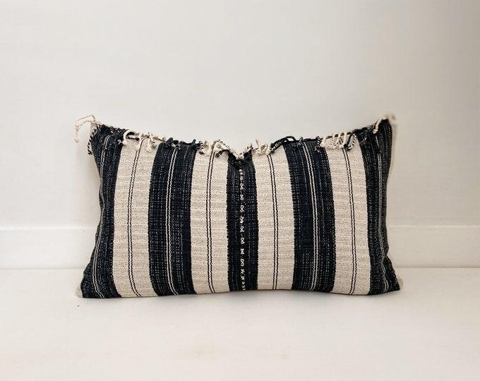 Striped Hmong Pillow Cover with fringe, Cotton, Modern Farmhouse, Boho, Lumbar