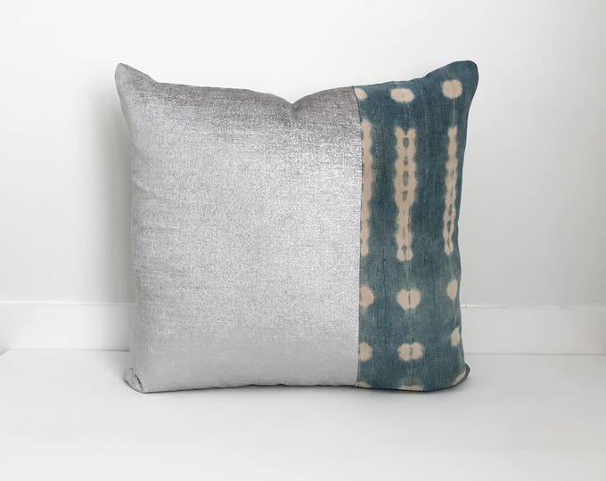 Boho Pillow, Indigo and Velvet Pillow Cover, Silver Pillow, Indigo, Mudcloth, One Of A Kind Pillow, Decorative, Bohemian