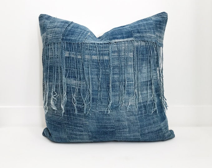 African Indigo Pillow Cover, Ethnic, Vintage, Blue, Boho Pillow, Fringe