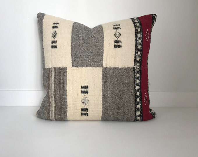 Boho Pillow, Wool Pillow Cover, African Fulani Pillow, Vintage,Pillow Covers, Throw Pillow, Decorative Pillows, Bohemian