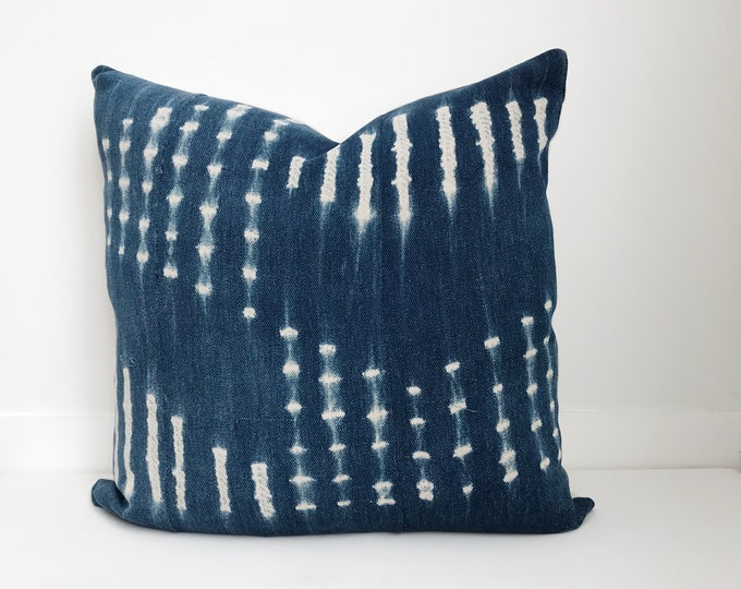 Indigo Pillow Cover, Farmhouse Pillow, Boho Pillow