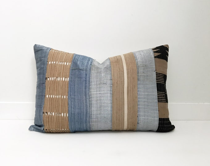 AfricanCloth Pillow, Blue, Tan,  Ethnic, Handwoven, Boho Pillow, One of a Kind
