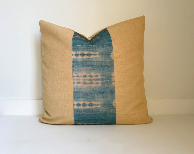 Outdoor Indigo Pillow Cover, Boho Pillow