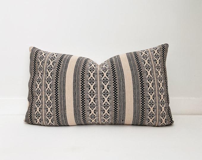 Black and Cream Pillow Cover, Lumbar, Handwoven, Boho Pillow