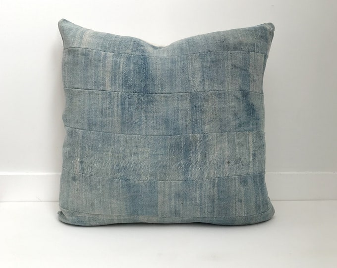 African Indigo Pillow Cover, Ethnic, Vintage, Blue, Boho Pillow, Faded