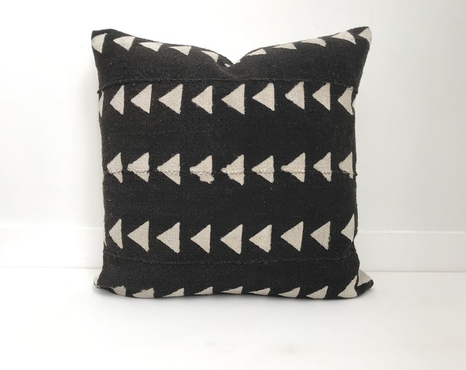 Authentic Mudcloth Pillow Cover, Black and Tan, Triangle Design