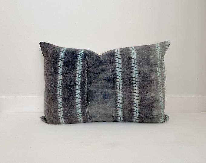 Vintage Batik Pillow Cover, Gray and Teal, Modern Farmhouse, Boho Pillow