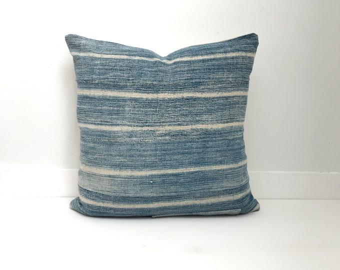 Africa Boho Pillow, indigo, Cover, Ethnic, Vintage, Blue, Striped