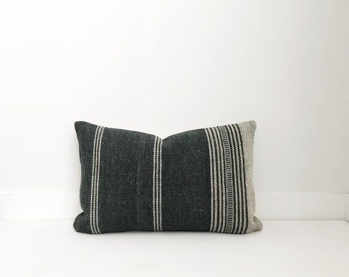 Indian Wool Pillow Cover, Grey, Stripes, Wool, Modern Farmhouse, Boho