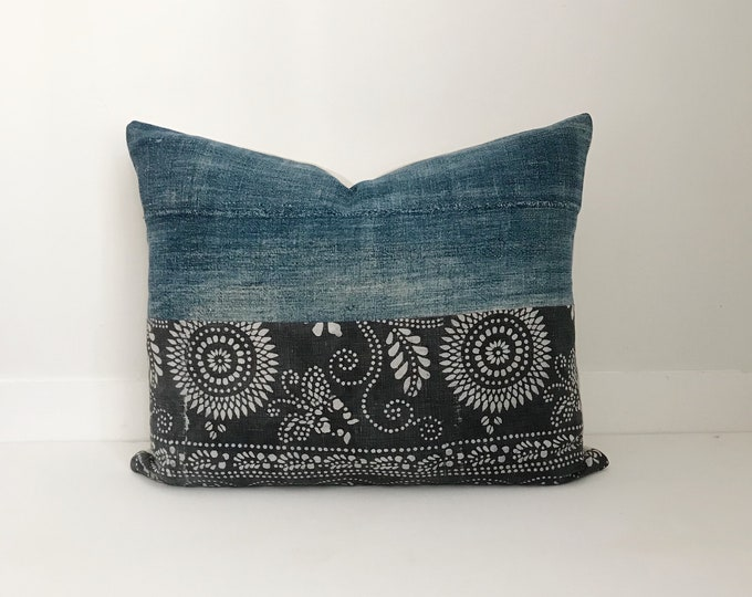 Indigo Pillow Cover with Chinese Batik Fabric, Indigo Mudcloth, Vintage Indigo Pillow, Indigo, Boho Pillow, Mudcloth, Mud Cloth