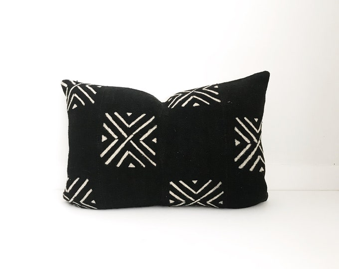 African Mudcloth Pillow Cover, Ethnic, Handwoven, Black and Tan, Boho Pillow, Mud Cloth