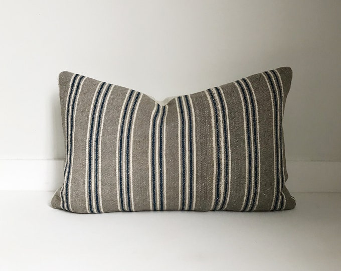 Boho Pillow, Striped Pillow, Vintage, Asian, Lumbar Pillow, Decorative Pillow, Pillow Covers, One Of A Kind, Bohemian, Boho Chic