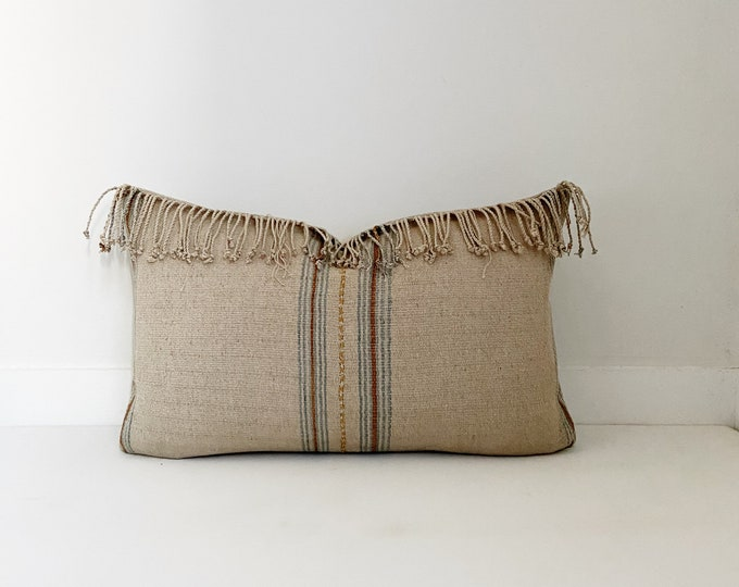Striped Hmong Pillow Cover with fringe, Cotton, Modern Farmhouse, Boho, Lumbar and Square